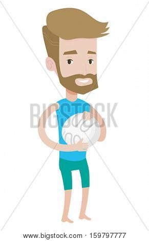 Hipster beach volleyball player with beard holding volleyball ball in hands. Young caucasian beach volleyball player standing with ball. Vector flat design illustration isolated on white background.