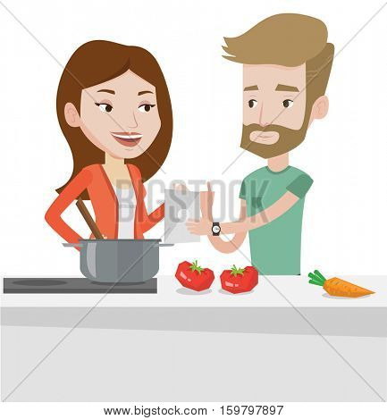 Caucasian couple following recipe for healthy vegetable meal on digital tablet. Couple cooking healthy meal. Couple cooking together. Vector flat design illustration isolated on white background.