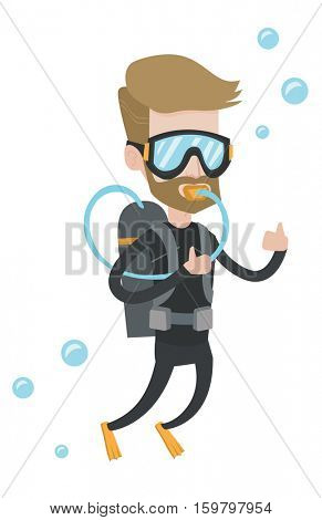 Young diver diving with scuba and showing ok sign. Caucasian diver in diving suit snorkeling and giving thumb up. Diver enjoying the dive. Vector flat design illustration isolated on white background.