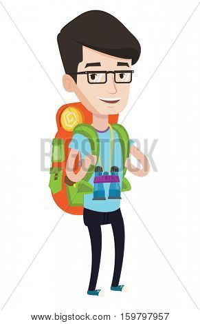 Hiking caucasian traveler standing with backpack and binoculars. Traveler man enjoying his recreation time. Happy traveler during trip. Vector flat design illustration isolated on white background.