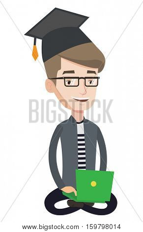Graduate sitting with laptop on knees. Happy student in graduation cap working on computer. Educational technology and graduation concept. Vector flat design illustration isolated on white background.