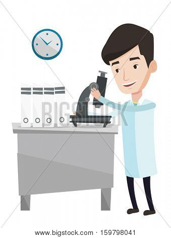 Laboratory assistant working with microscope. Laboratory assistant working at the laboratory. Laboratory assistant using a microscope. Vector flat design illustration isolated on white background.