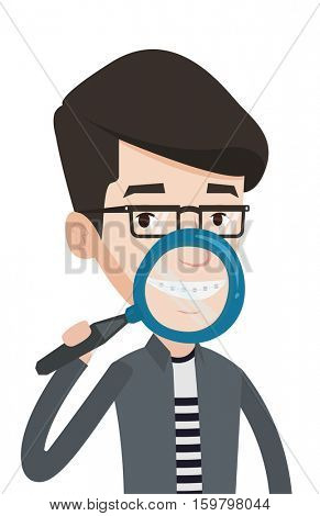 Young man holding a magnifying glass in front of his teeth. Caucasian man examining his teeth with magnifier. Concept of teeth examining. Vector flat design illustration isolated on white background.