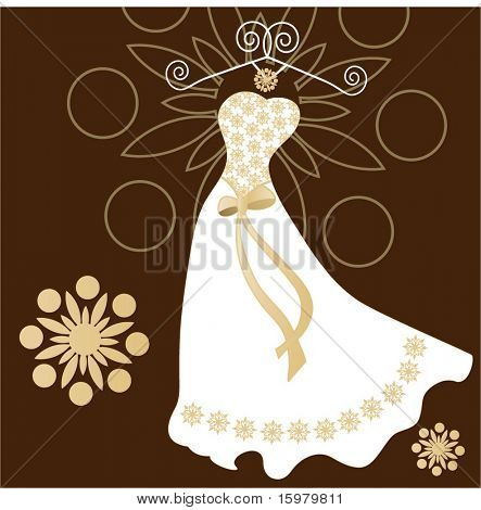 wedding dress with hanger and beading