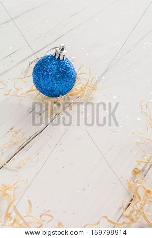 Bright Toys For Christmas Tree And Interior Design, On White Wooden Background