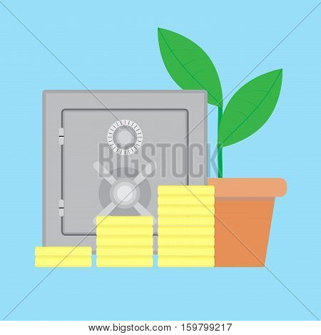 Growth Finance and deposited in the safe Deposit safe and savings wealth vector illustration financial