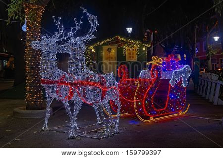 Santa Claus sleigh and two reindeer, Christmas decoration