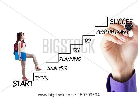 Female college student walking upward on the stairs with strategy plan to success isolated on white background