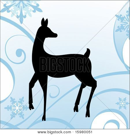 deer with winter background