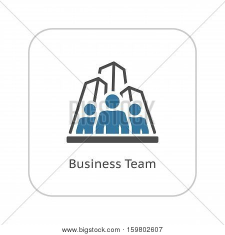Business Team Icon. Business and Finance. Isolated Illustration. A group of people with skyscrapers in the background