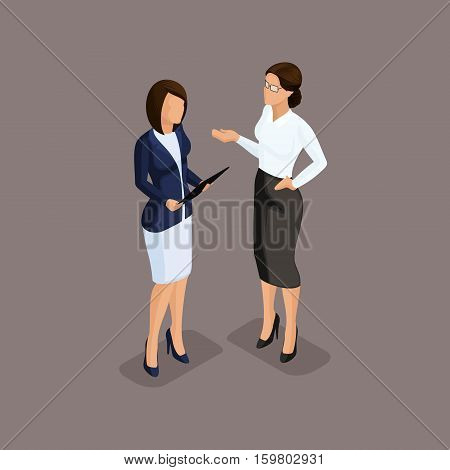 Isometric people isometric business woman holding talks the chief scolds subordinates. Dress code on dark background isolated. Vector illustration.
