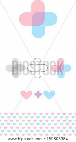 Abstract medic symbol. Health care isolated logo. Unusual cross shape. Сhildren's clinic logo