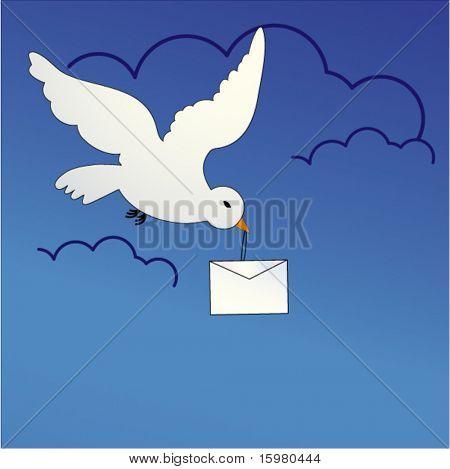 bird carrying envelope  - lettercarrier