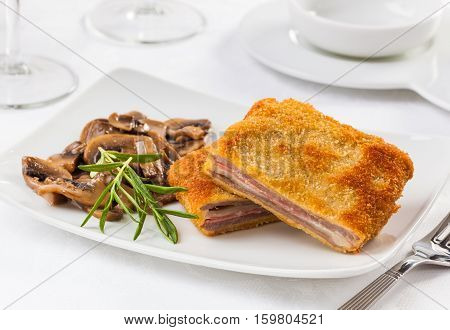 Cachopo typical meat dish from the Asturias region in Spain.