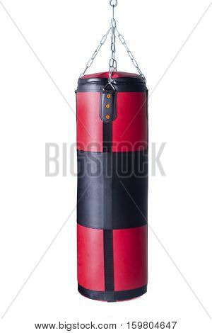 Red black punching bag for boxing training isolated on white background