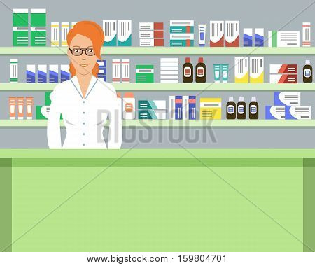 Web banner of a pharmacist. Young woman in the workplace in a pharmacy: standing in front of shelves with medicines. Vector illustration