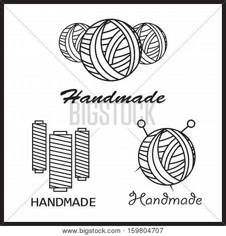 Handmade black thin line icons on white background. Handmade workshop logo set