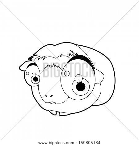 Coloring book page. Funny cartoon comic cool nice animals. Hamster