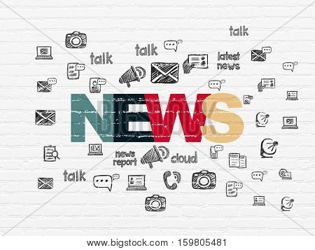 News concept: Painted multicolor text News on White Brick wall background with  Hand Drawn News Icons