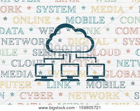 Cloud technology concept: Painted blue Cloud Network icon on White Brick wall background with  Tag Cloud