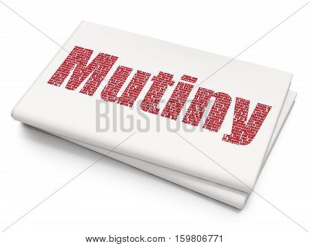 Politics concept: Pixelated red text Mutiny on Blank Newspaper background, 3D rendering