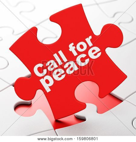Political concept: Call For Peace on Red puzzle pieces background, 3D rendering