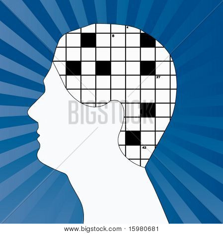 male profile with crossword for brain (move black squares and numbers as you wish)