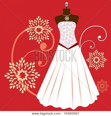 Beautiful gown with necklace and seamless pattern on bodyform
