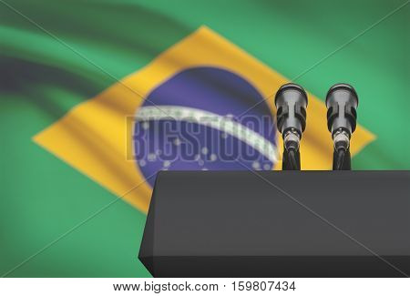Pulpit And Two Microphones With A National Flag On Background - Brazil