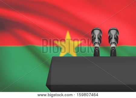 Pulpit And Two Microphones With A National Flag On Background - Burkina Faso