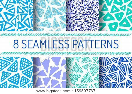 Hand Drawn Seamless Triangle Pattern In Retro Style. Blue Colors Delta Background Set