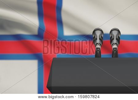 Pulpit And Two Microphones With A National Flag On Background - Faroe Islands