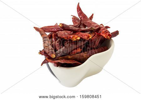 Dry chili in the cup on white background and clipping path