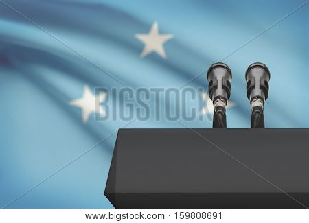Pulpit And Two Microphones With A National Flag On Background - Micronesia