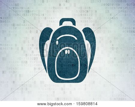 Travel concept: Painted blue Backpack icon on Digital Data Paper background
