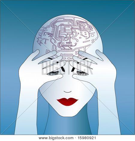 woman robot like thinking