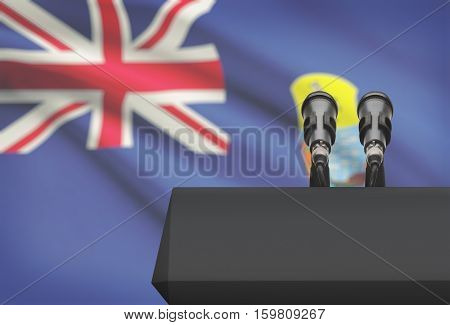 Pulpit And Two Microphones With A National Flag On Background - Saint Helena