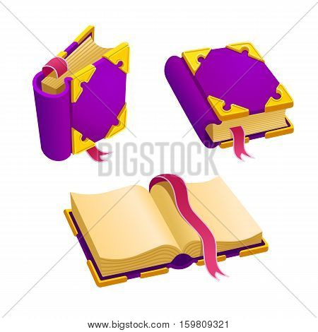Set of cartoon purple book from different angles.Isolated vector elements for game design.