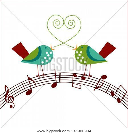 whimsical  birds with musical notes