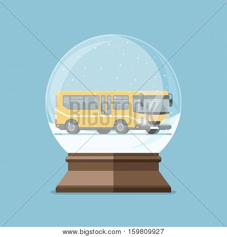 Christmas snow globe with yellow bus inside. Flat vector illustration