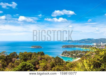 Aerial view of Kata Karon Patong View Point Phuket South of Thailand