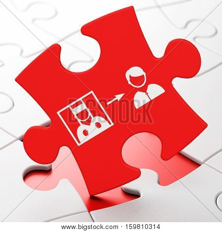 Law concept: Criminal Freed on Red puzzle pieces background, 3D rendering