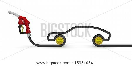 The cost of automotive fuel. Car fuel nozzle the hose in the shape of the car symbol and coins of the US dollar on a white surface. Isolated. 3D Illustration