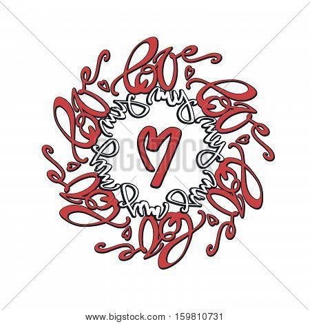 Love Concept Mandala Style Calligraphic Lettering