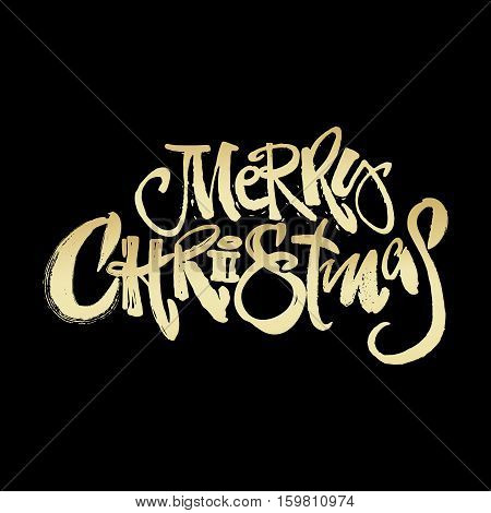 Merry Christmas Modern Lettering Greeting Card.