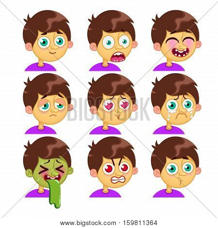 Vector cartoon characters. Boy emotion faces. Man emoji face icons and symbols. Human expression sign. Avatars. Stickers