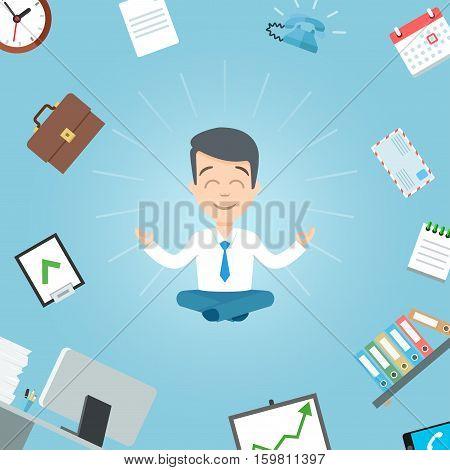Happy businessman meditating in the office. Business yoga office worker meditation vector illustration