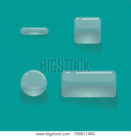 Set of cartoon transparent, glossy, glass buttons, vector gui assets collection for game design. isolated vector elements. Gui elements. Menu set for mobile games.Various forms of buttons