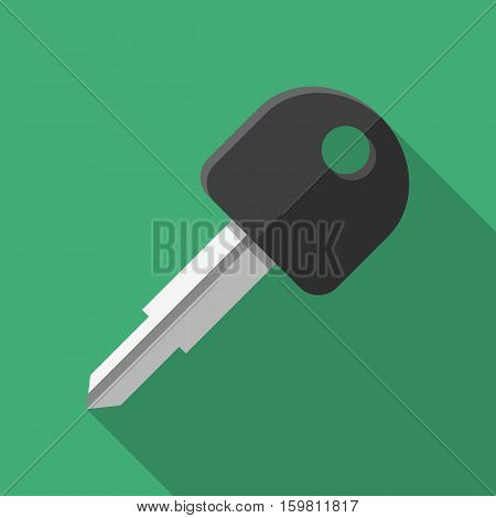 Colorful car key icon in modern flat style with long shadow. Car parts and service vector illustration