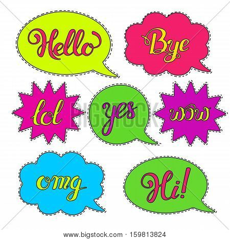Vector set of Cartoon speech bubbles.Hand drawn set with phrases Hi, Hello, Thank you, Yes, Wow, Bye.Cute Internet Slang Wording Vector Design Illustration. Patch badges or fashion pin badges.Stickers